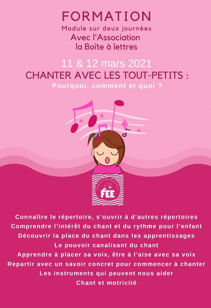 """Inscrivez-vous à la formation """"Chanter avec les tout-petits: pourquoi, comment et quoi?"""" Session du 11 au 12 mars 2021"""